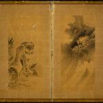 Two-Panel Tiger and Dragon Byobu