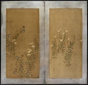 Two-Panel Flowers Byobu