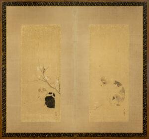 Two-Panel Dogs, Maruyama Okyo Byobu