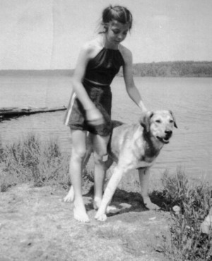 A teenaged Susanne Schuler and her dog Duke.