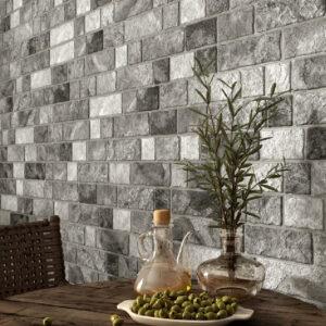 Bricked Grey 8cm x 44.25cm Wall Tile