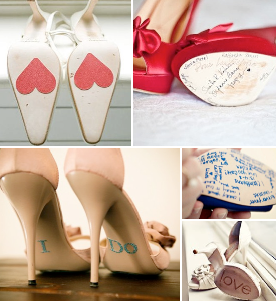 Wedding shoe trends ~ detailing on the bottom.