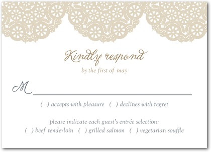 burlap and lace response cards