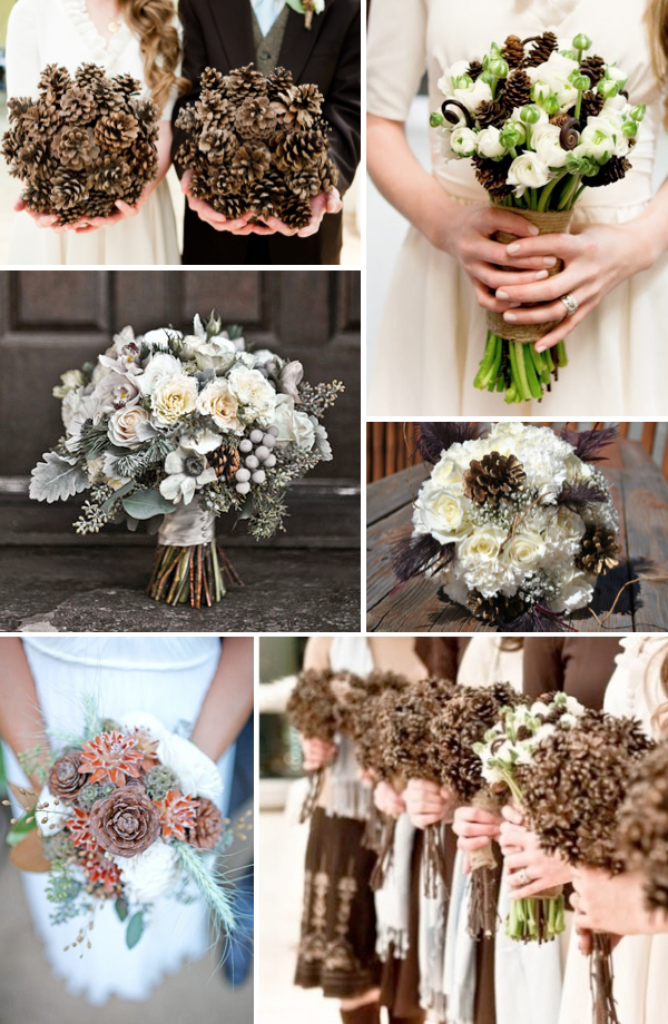 Winter Wedding Bouquets With Pinecones