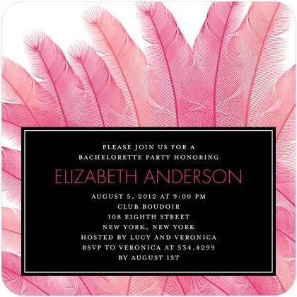 pink feather bach party invite