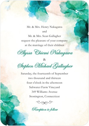 green and blue watercolor wedding stationery