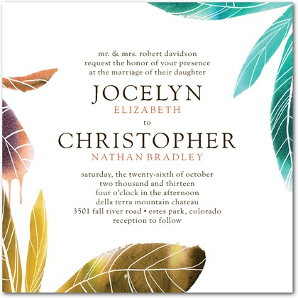 turquoise and gold feather wedding invitation