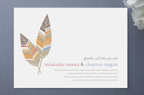 colorful feather wedding invite