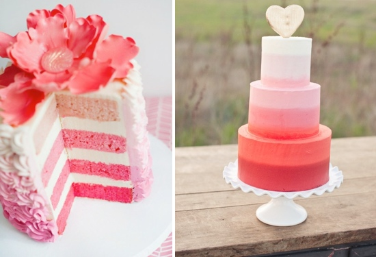 ombre wedding cakes pink