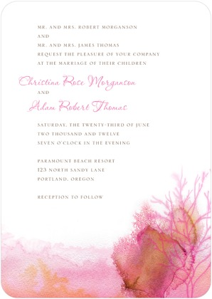 water color wedding invitations pink