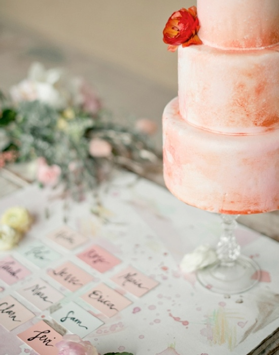 watercolor themed wedding cakes