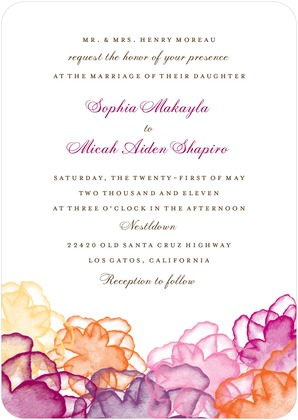 orange and pink watercolor wedding stationery