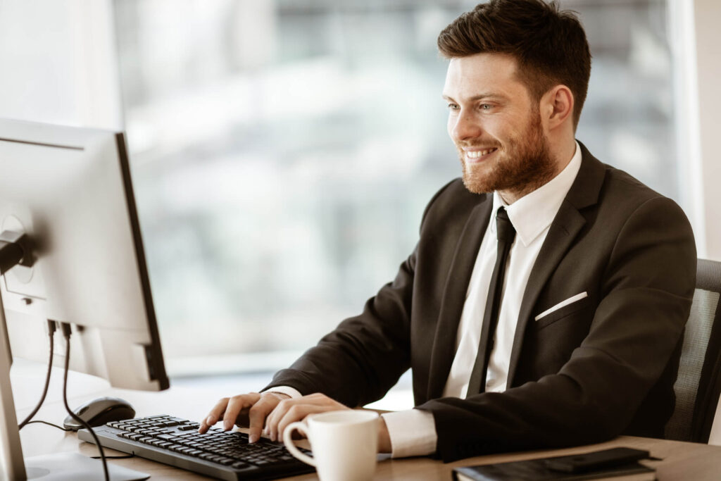 man researching an Insurance Business for Sale