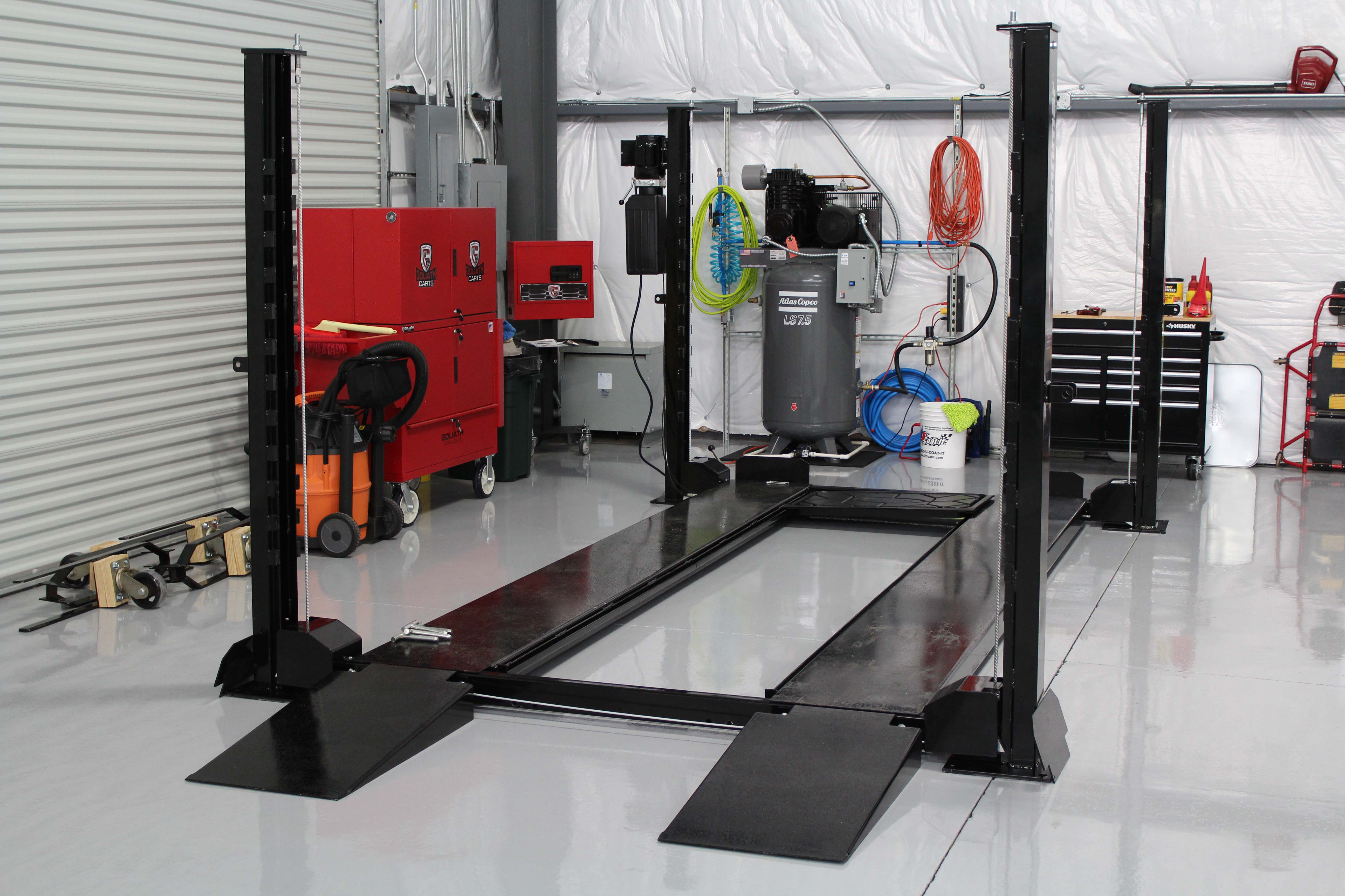 Car Lift in Collectors Paddock Car Storage Warehouse