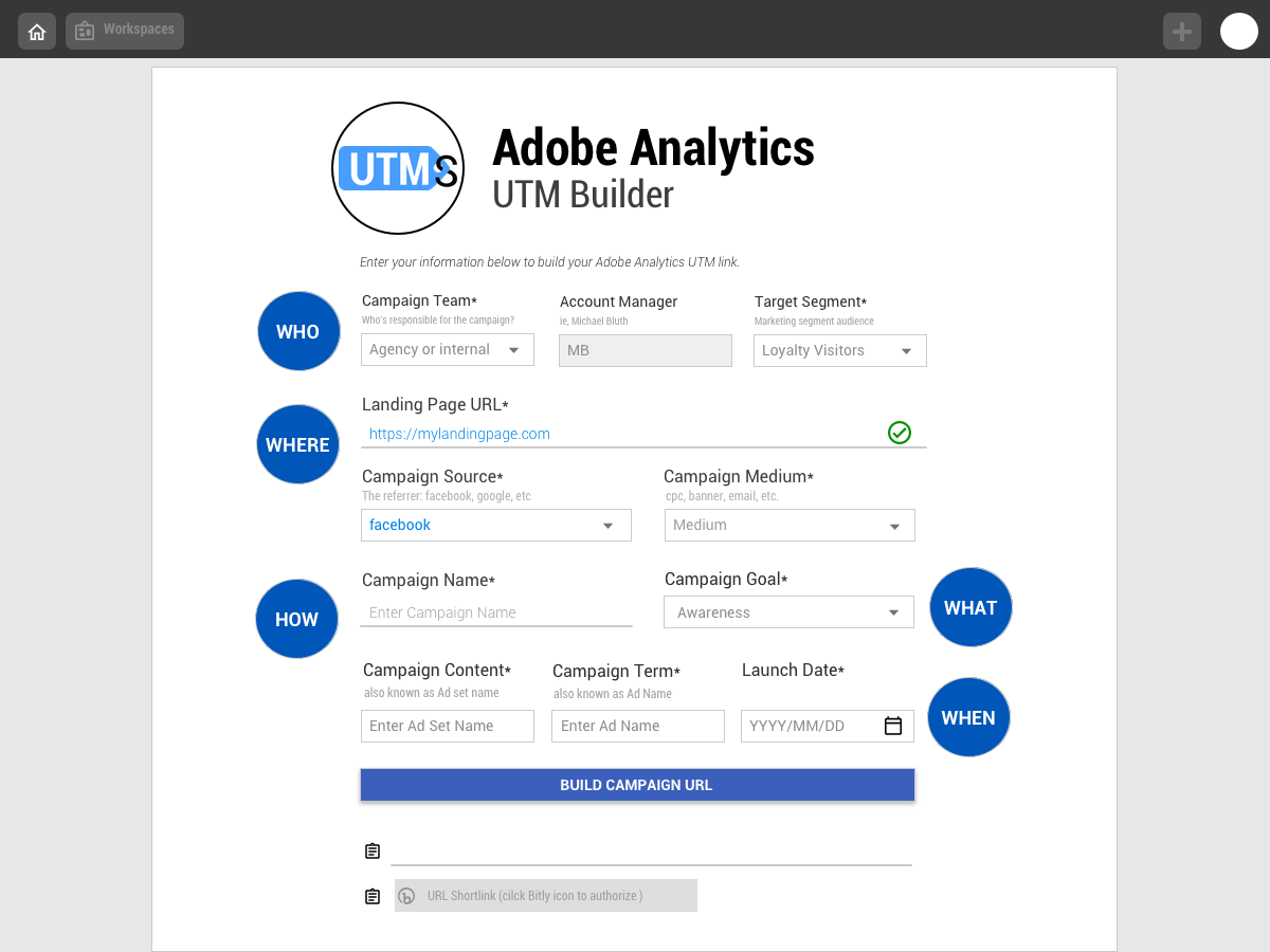 UTM Smart Manager Adobe Analytics builder with best-in-class classifications
