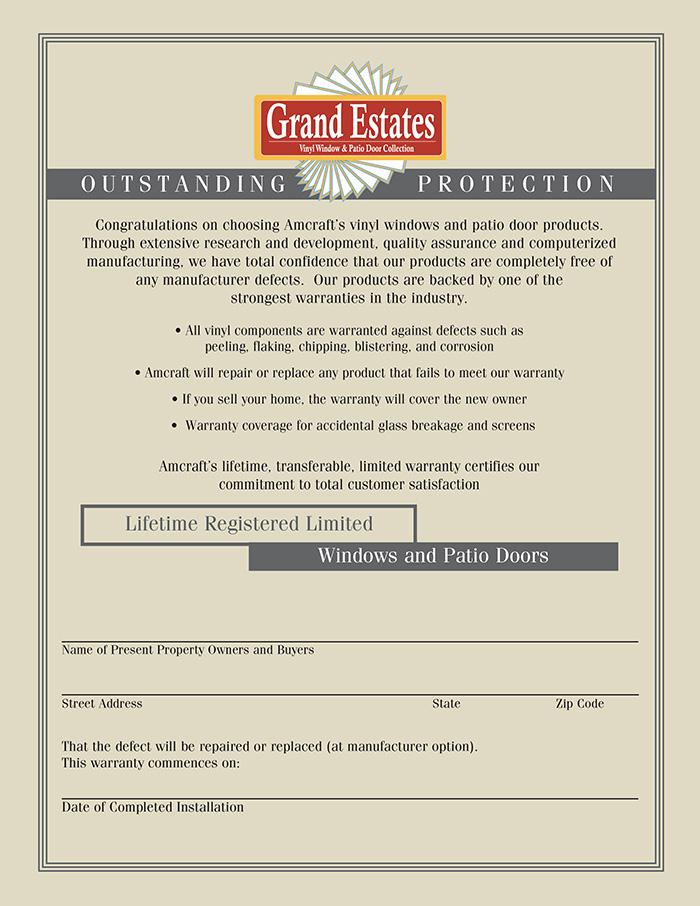 Grand Estates Window Warranty