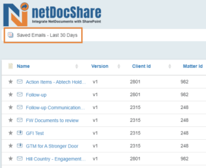 netDocShare helps to save and view emails from the last 30 days within SharePoint