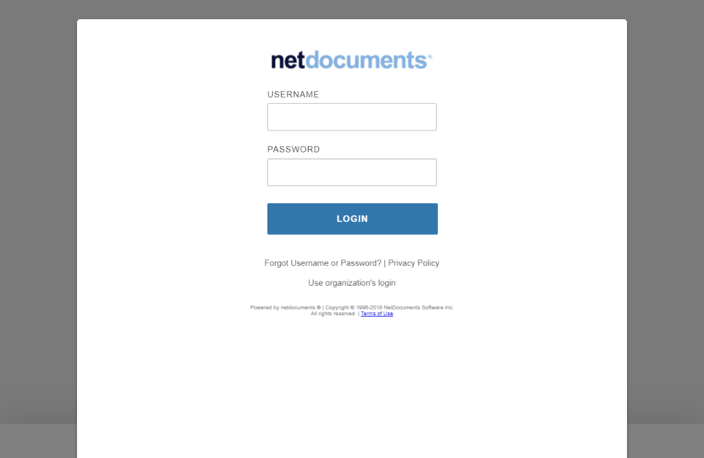 Login into NetDocuments Page