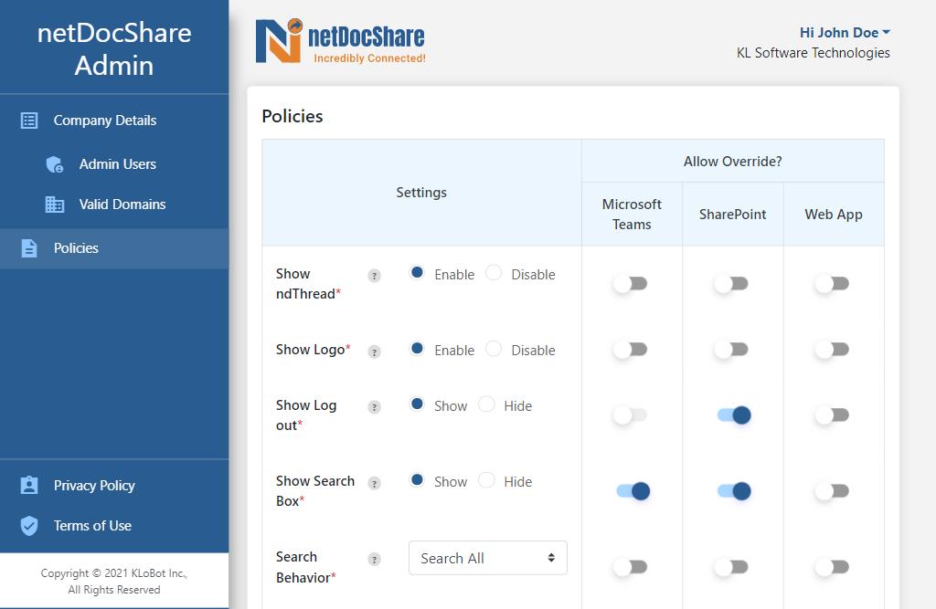 Admin app - Policies page
