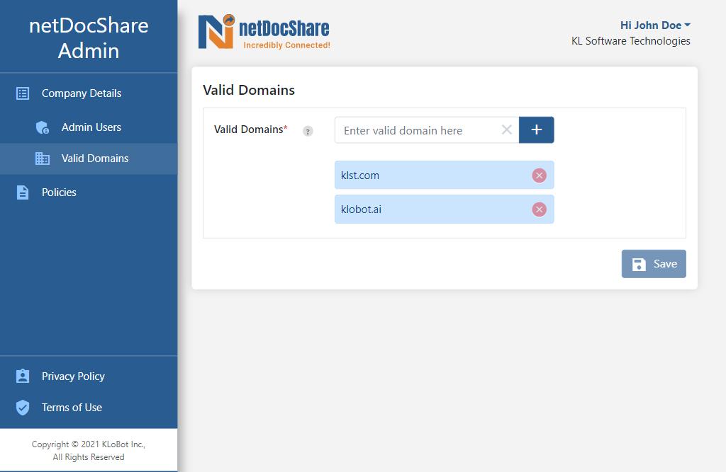 Admin app - Valid Domains page