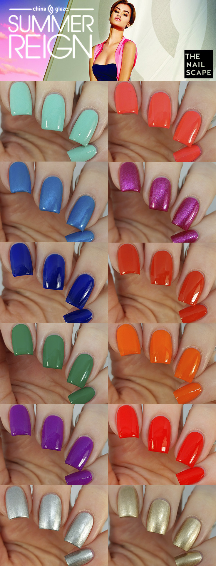 CHINA GLAZE SUMMER REIGN SWATCHES on The Nailscape