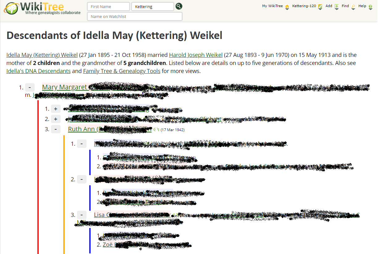 Screenshot showing how I am descended from Idella