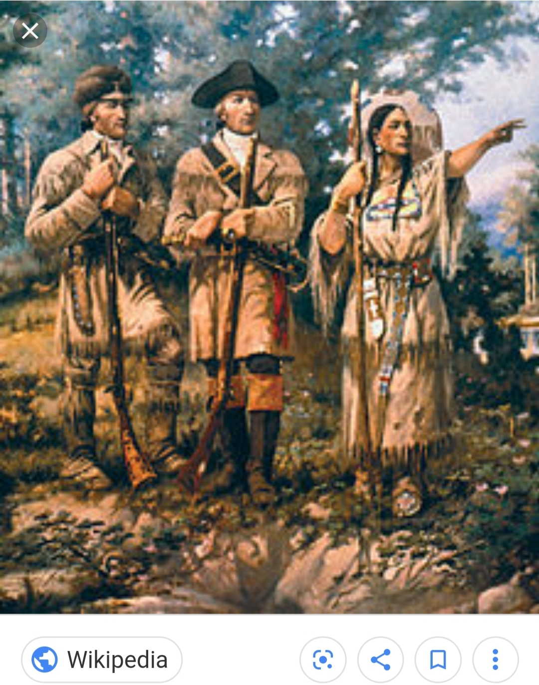 Painting depicting Sacagawea with both Meriwether Lewis and William Clark