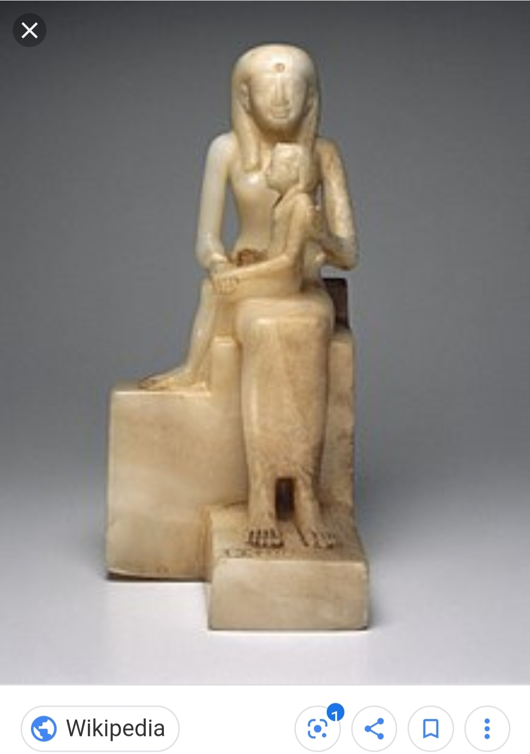 Miniature Figurine of Ankhesenpepi II with her son Pepi II