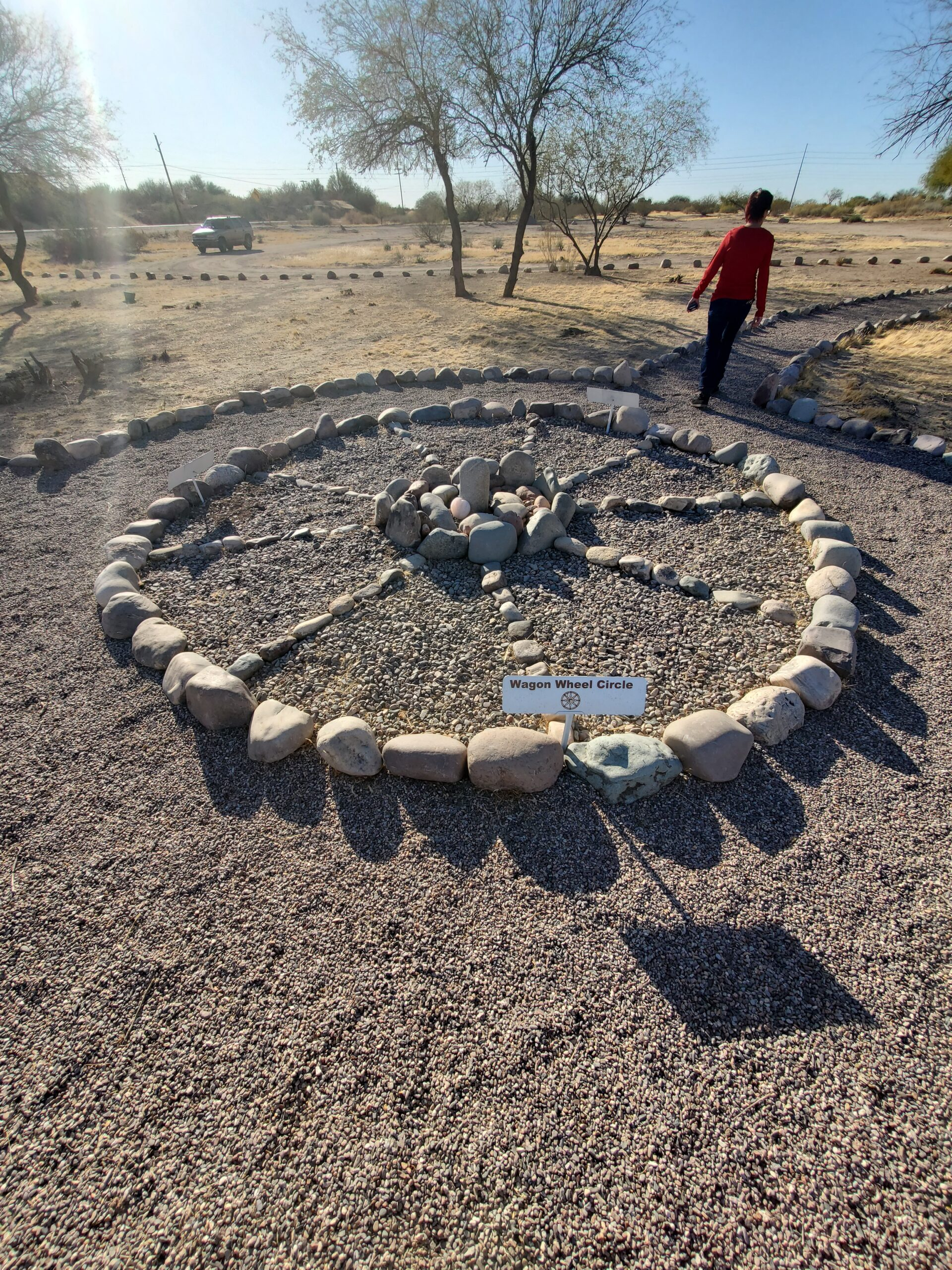 Located in Butte View is this artistic wagon wheel circle made of rocks