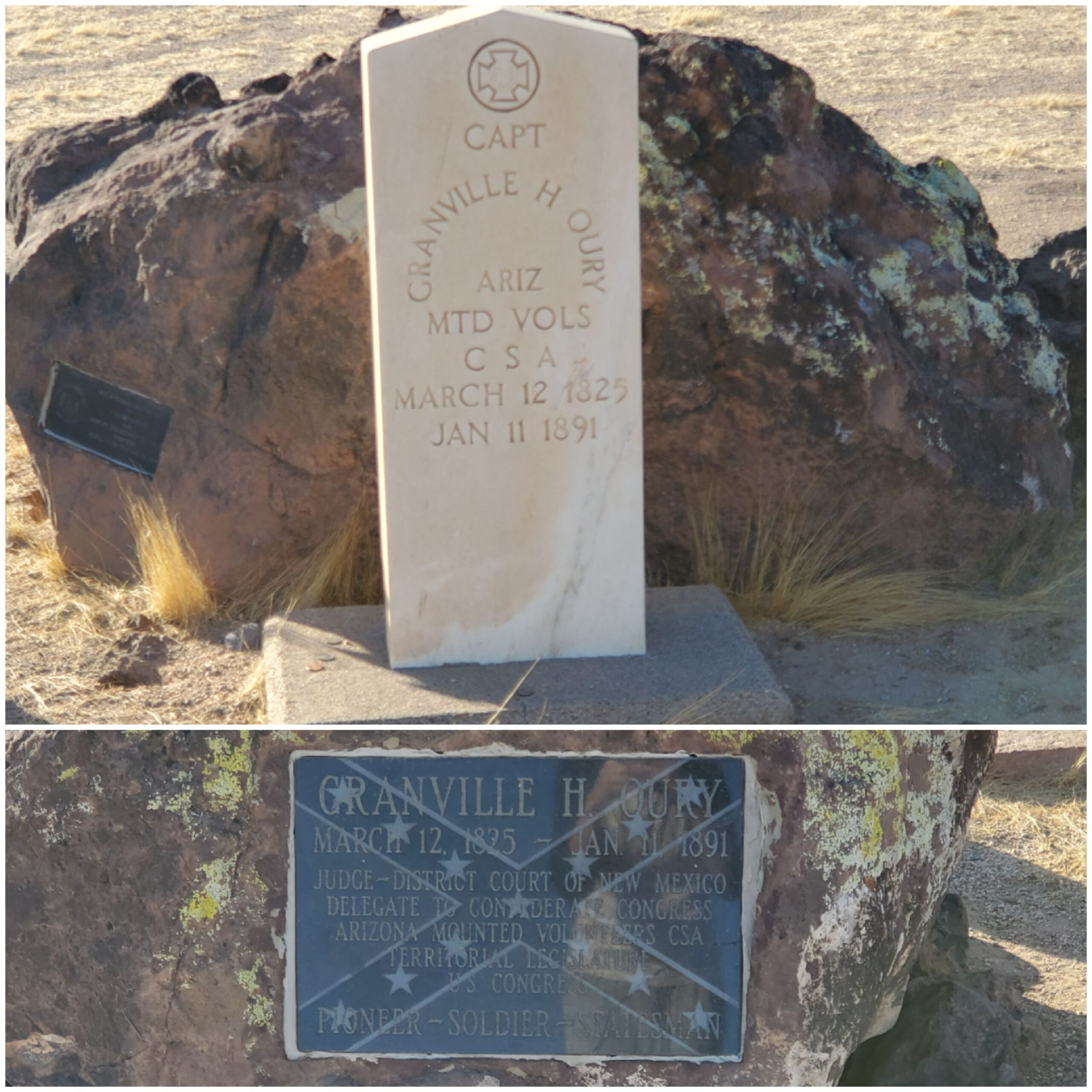 Captain Oury's government issue marker is on the top of this image while the engraved polished stone is beneath. I took both of these photos in November of 2020