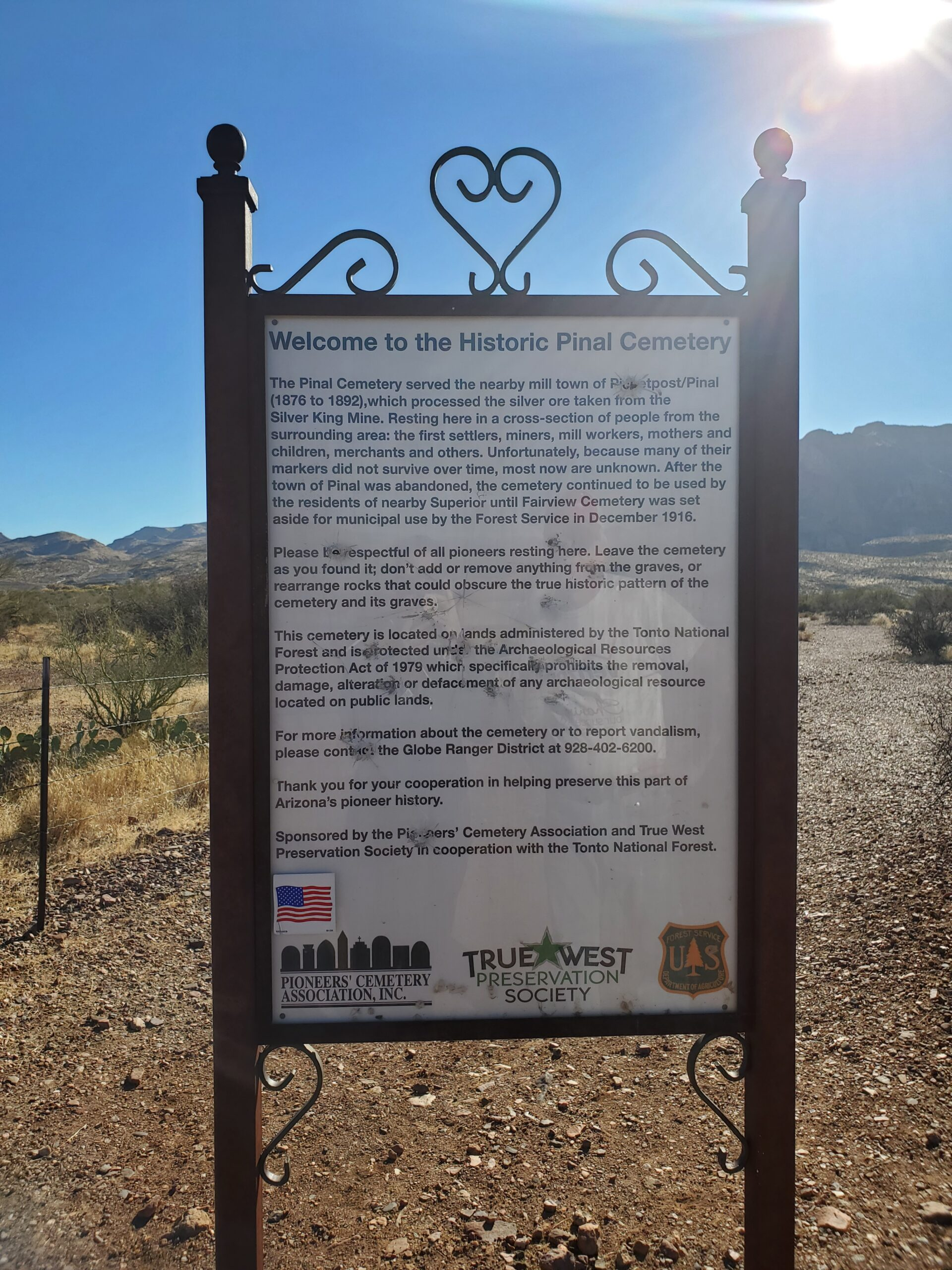 Informational Sign Near the Cemetery Entrance