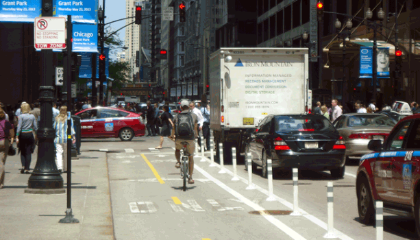 Dearborn Barrier Protected Bike Lane