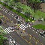 Rendering of Chicago Avenue pedestrian refuge island