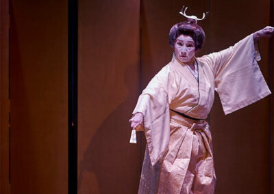 """Azuma Kikusue in the role of a young warrior in her performance of the classical dance, """"Shobu."""""""