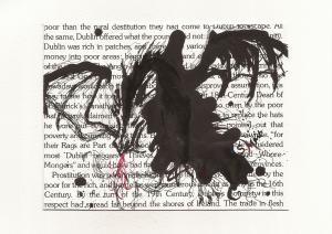 Inkblot dragon on text