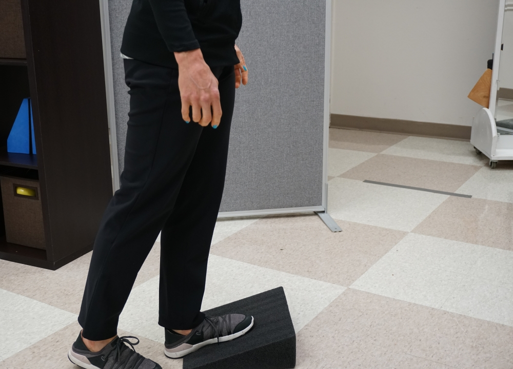 ankle spasticity stretch with a wedge