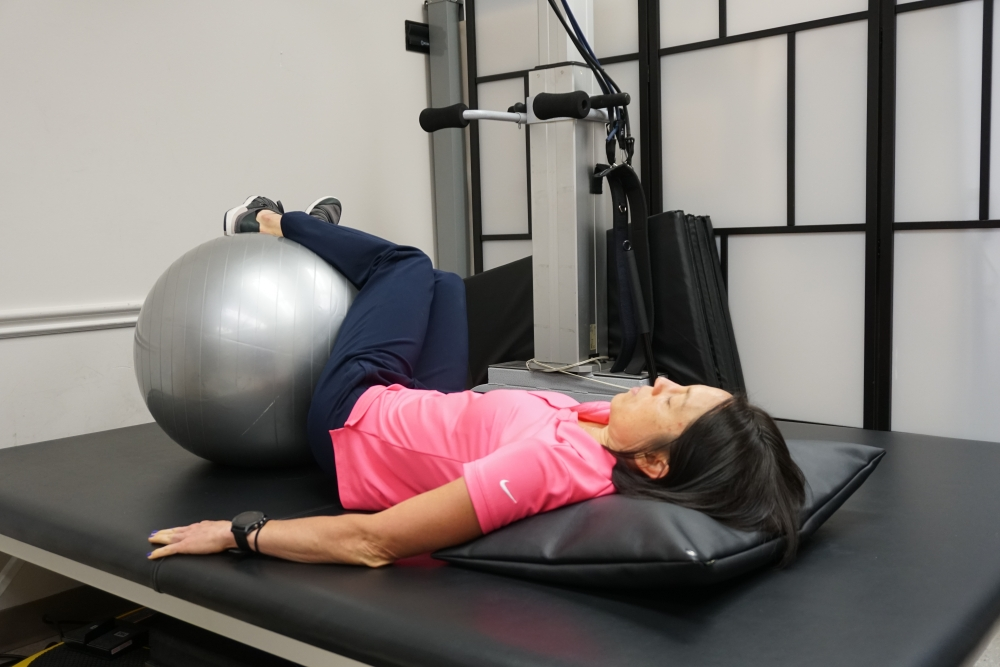 gym ball exercise trunk rotation