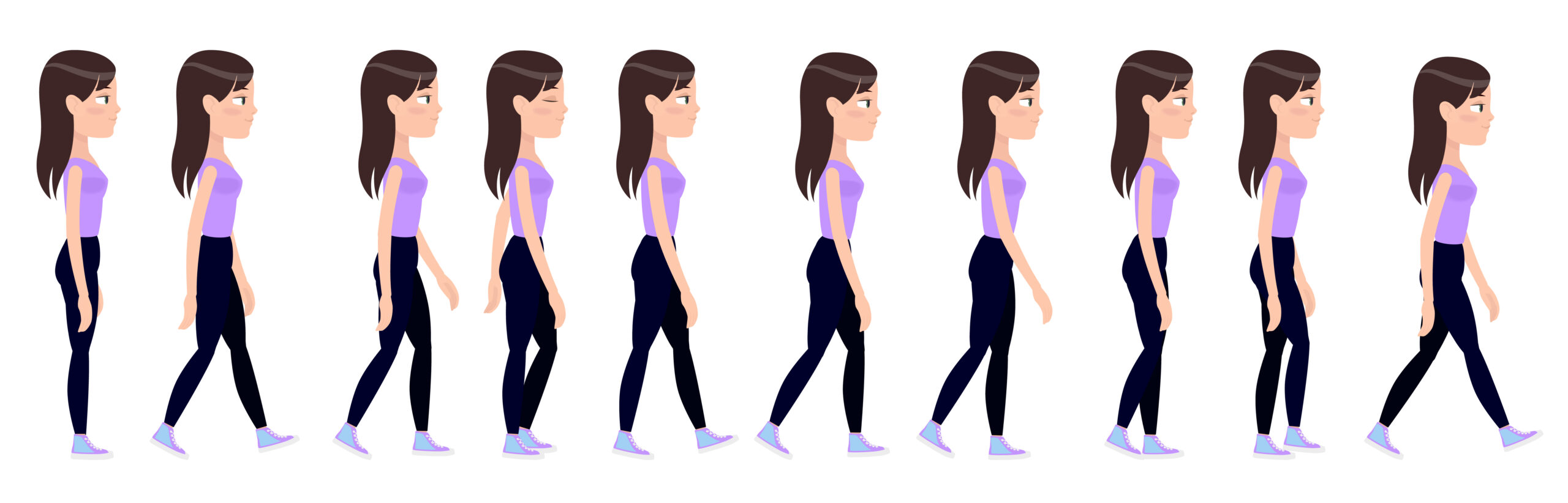 vector image of the gait cycle