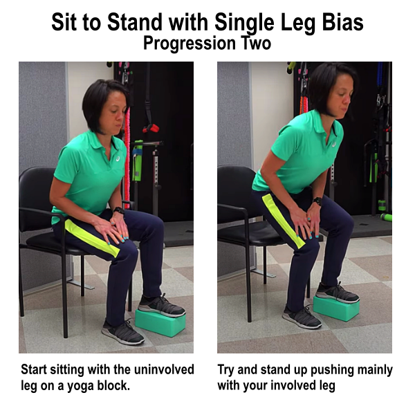 sit to stand with single leg bias