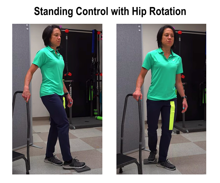 standing control exercise with hip rotation