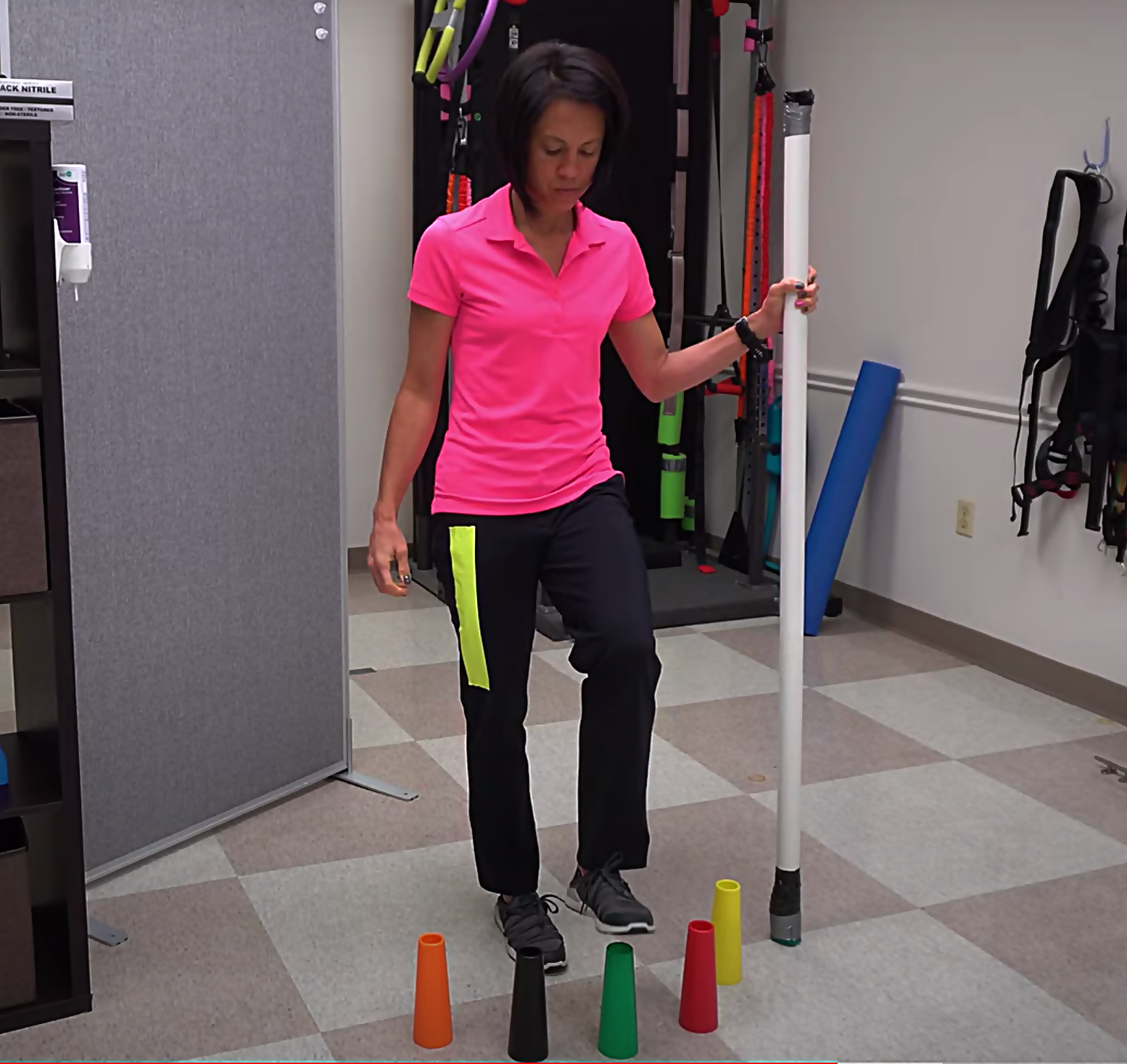 advanced walking exercise with stacking cones