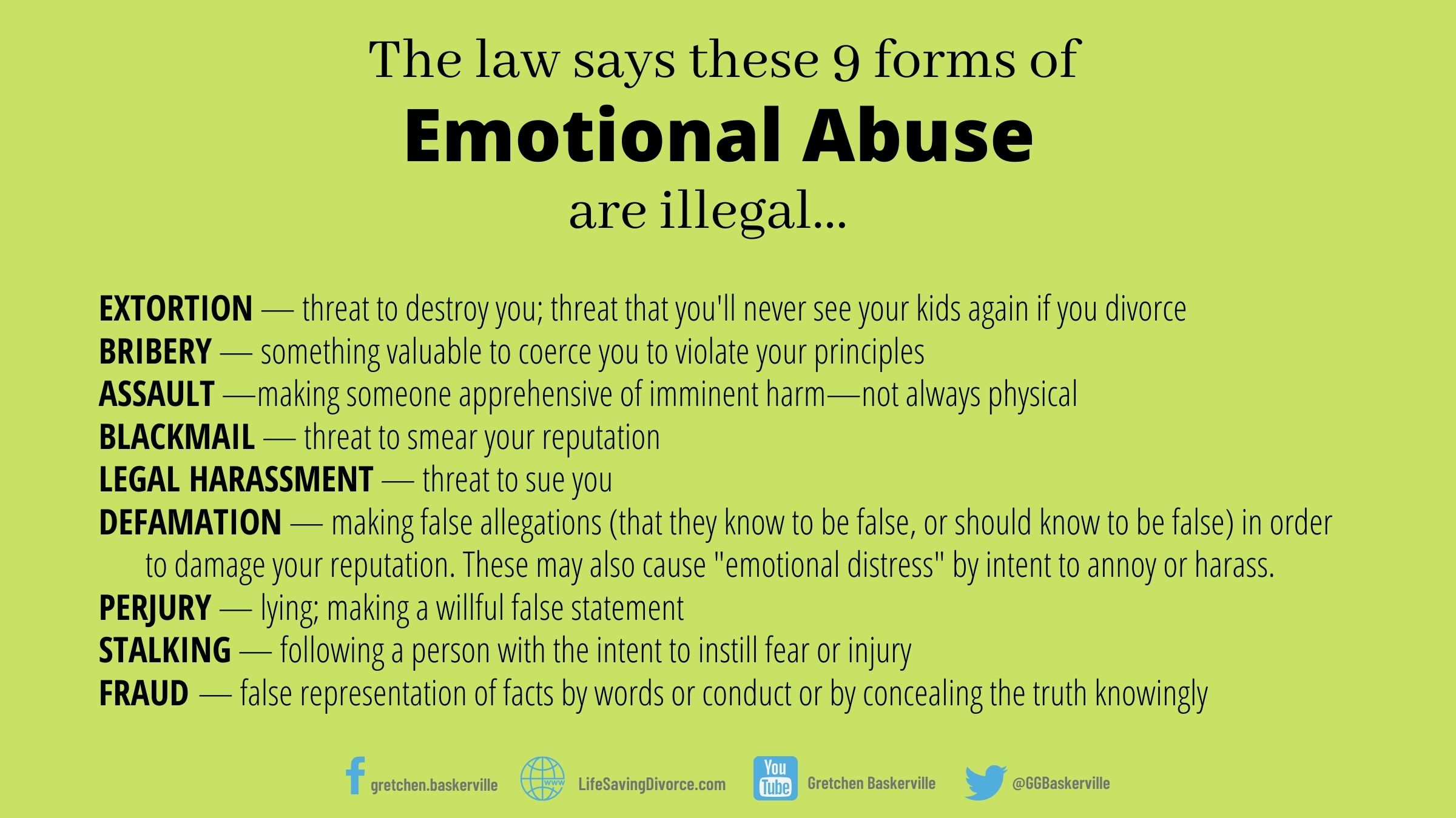 Here is an example of some legal phrases that pertain to emotional abuse.