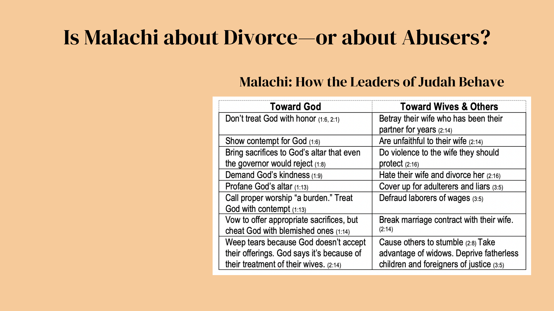 Does God hate divorce or does God hate abusers?