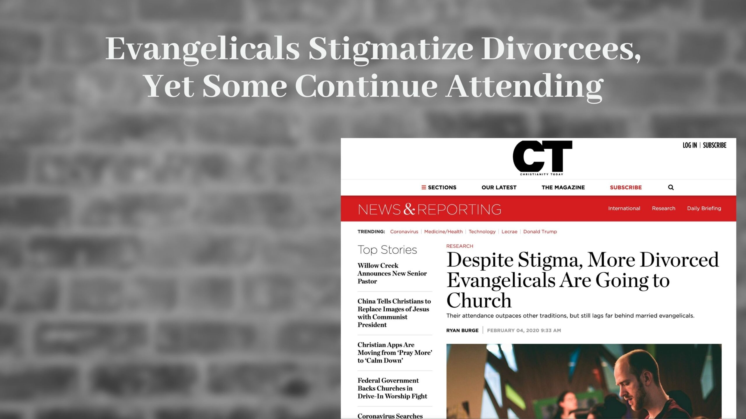 Christianity Today article on the Stigma of Divorce in Evangelical Churches