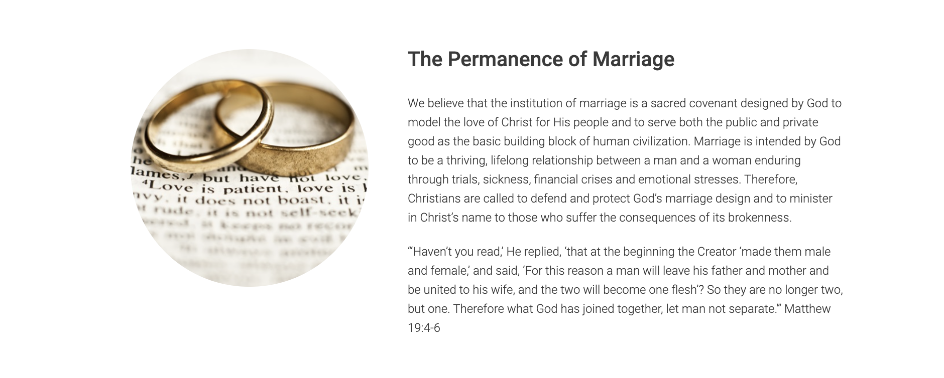 """Focus on the Family Permanence View Statement on their """"Foundational Values"""" and Vision Page."""