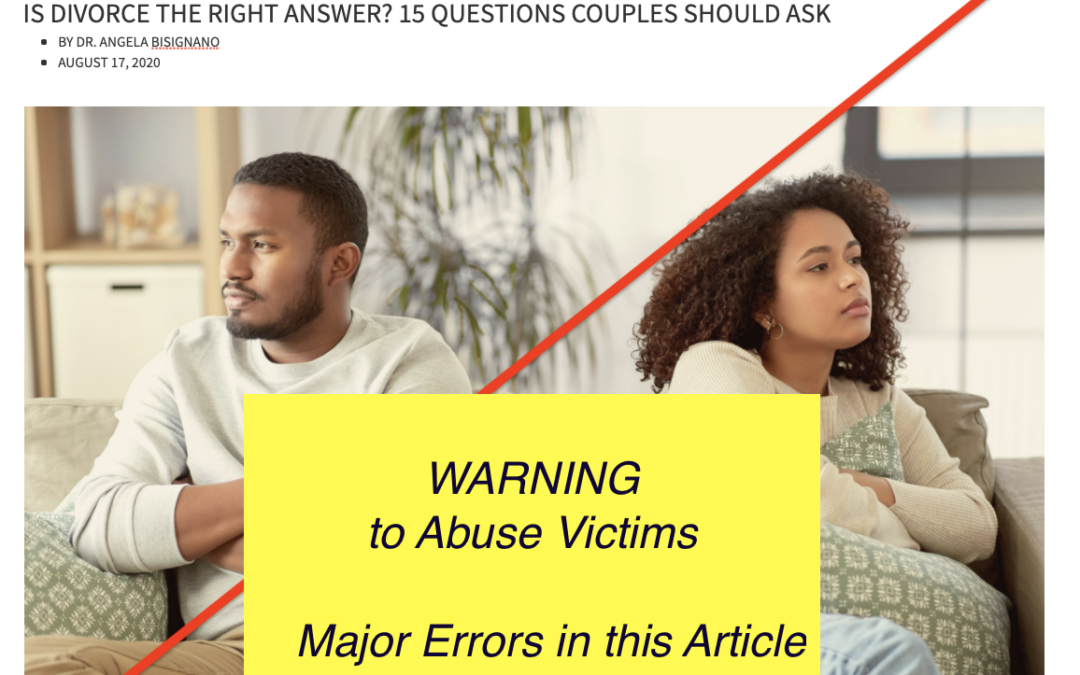 """5 Major Errors in """"Is Divorce The Right Answer?"""" Focus on the Family"""