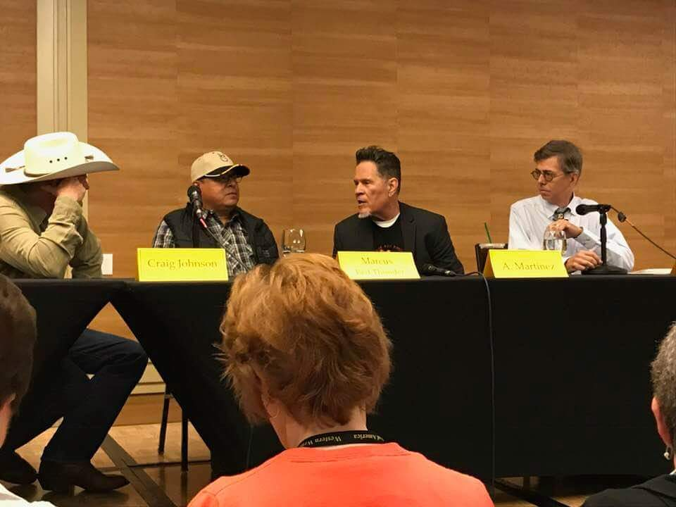 2018 WWA panel l-r Craig Johnson (author of Longmire books); Marcus Red Thunder (Longmire television series advisor); A Martinez (actor); and Kirk Ellis (screenwriter and producer)