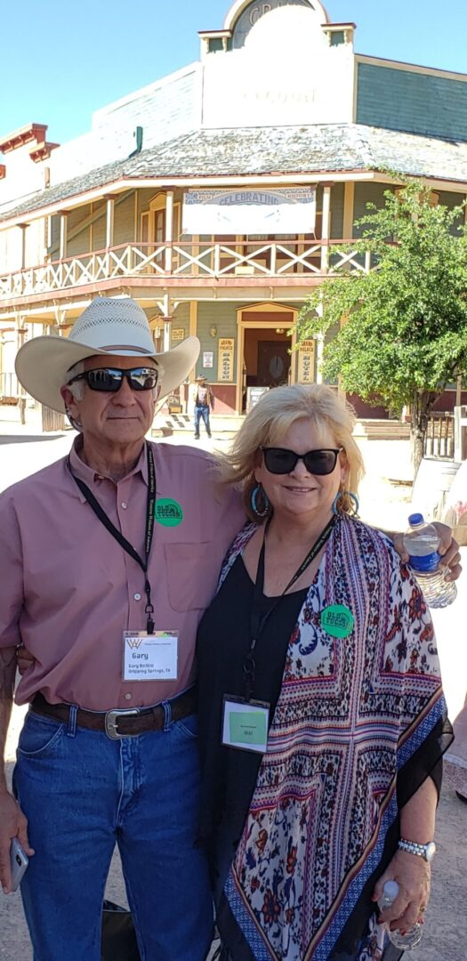 Author Jane Little Botkin with husband in Old Tucson at 2019 WWA conference