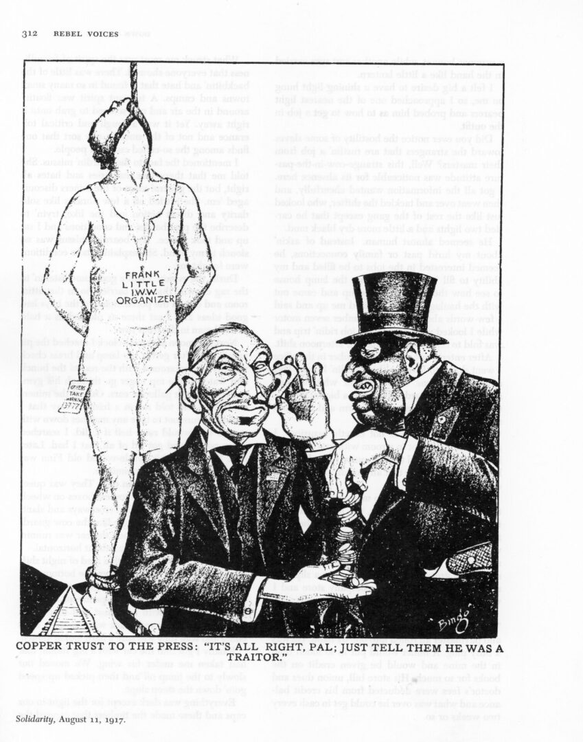 Editorial cartoon of two men wearing suits exchanging money and Frank Little hanged to death behind them