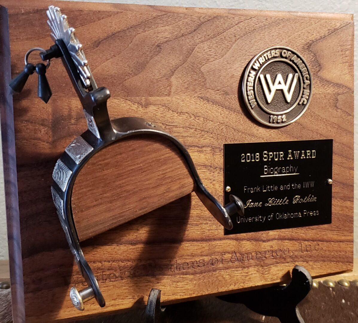 Wooden plaque, 2018 Spur Award, Biography given to Jane Little Botkin for Frank Little and the IWW